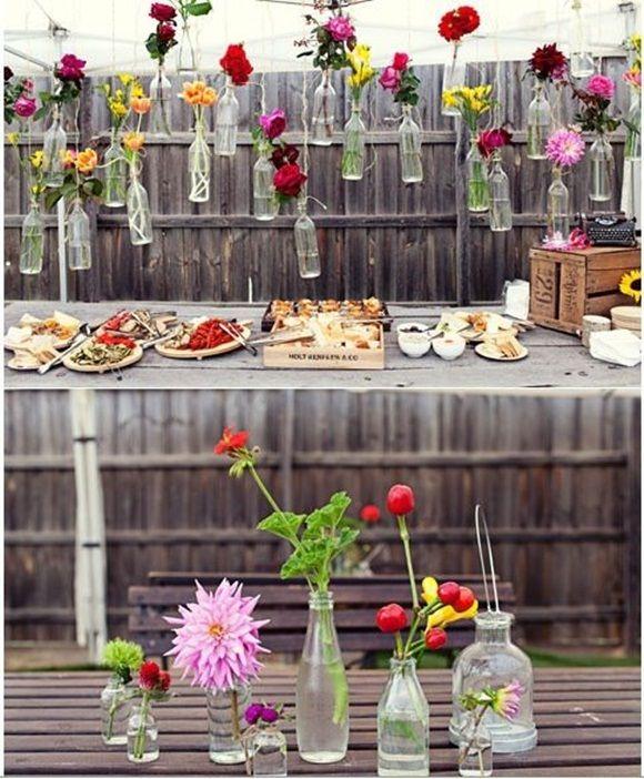 Decoracion vintage con flores y vidrio reciclado decomanitas - Decoracion vintage reciclado ...