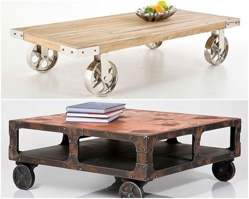 mesas vintage con ruedas de carro decomanitas