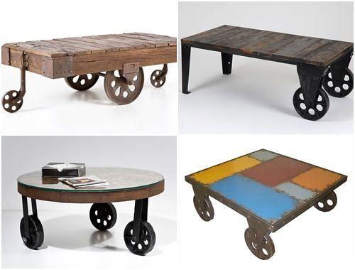Mesas vintage con ruedas de carro decomanitas for Ruedas industriales antiguas para muebles
