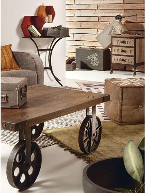 mesas vintage con ruedas de carro decomanitas On donde comprar ruedas estilo industrial