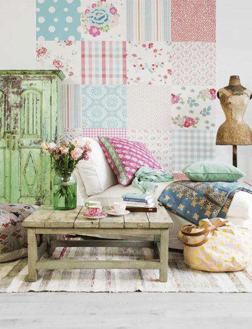 Ideas patchwork para paredes vintage decomanitas - Decoracion vintage ideas ...