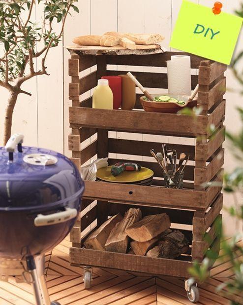 Mueble para barbacoas DIY hecho con cajas de madera  Decomanitas