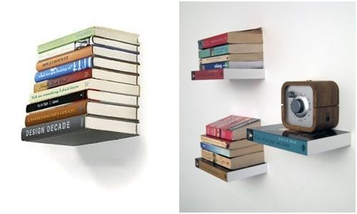Repisas flotantes con forma de libros y casa decorada for Repisas espacios pequenos