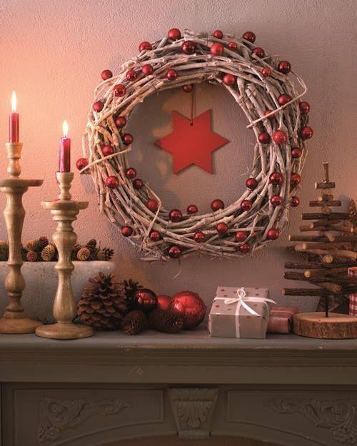 Manualidades para decorar corona de navidad con ramas secas 1 decomanitas - Manualidades para decorar en navidad ...