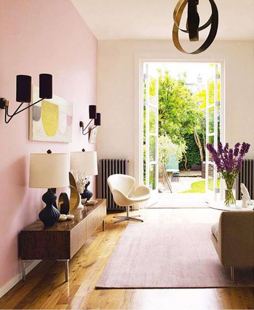 La decoraci n de interior en color rosa palo es tendencia for Decoracion de living 2016