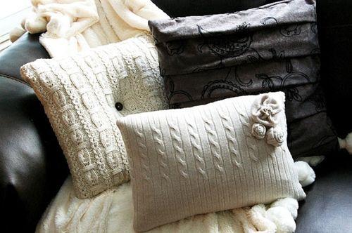 C mo hacer cojines de punto con viejos jerseys decomanitas - Cojines de lana ...
