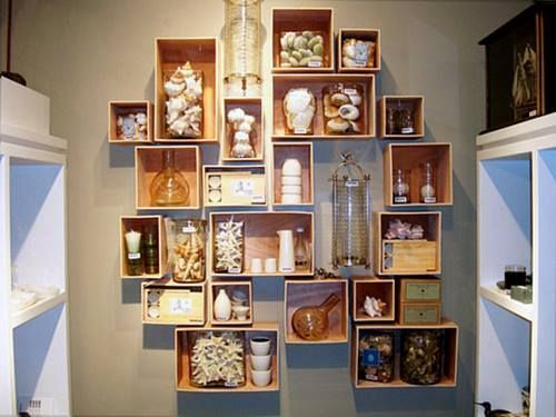 en cajas de madera para fruta para hacer estanteras