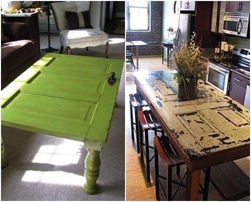 Ideas para reciclar muebles mesas espejos y cabeceros a for Reciclar puertas antiguas
