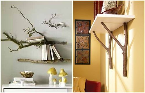 Más ideas para decorar con ramas secas repisas modernas con toque
