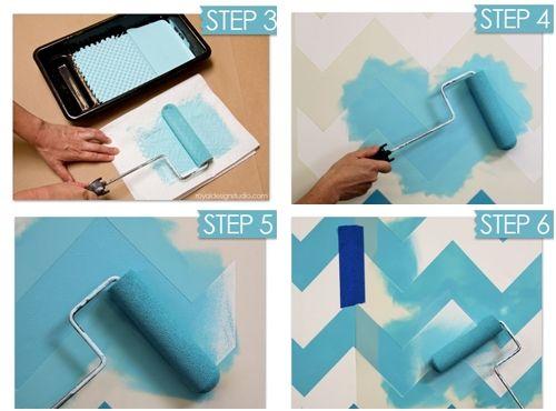 Nuevas ideas geom tricas con plantillas para pintar paredes decomanitas - Materiales para hacer paredes ...