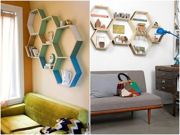 Decoraci n retro con estanter as de pared en forma de hex gono decomanitas - Estantes de pared originales ...