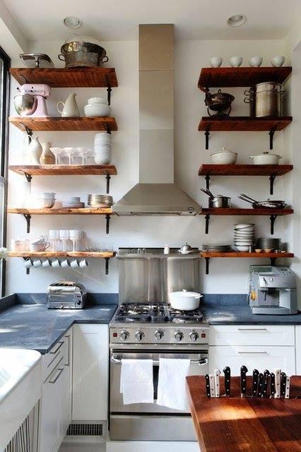 Estanter as de madera baratas con escuadras para cocinas - Estanterias rusticas de madera ...