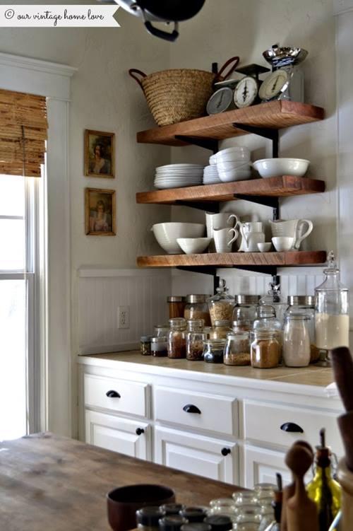 Iluminacion Baño Barata:Estanterías de madera baratas para cocinas con encanto