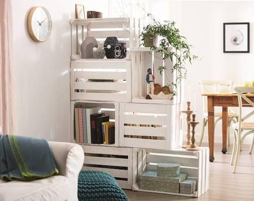 Estanter a con cajas de madera para frutas decomanitas - Estanterias con cajas de fruta ...