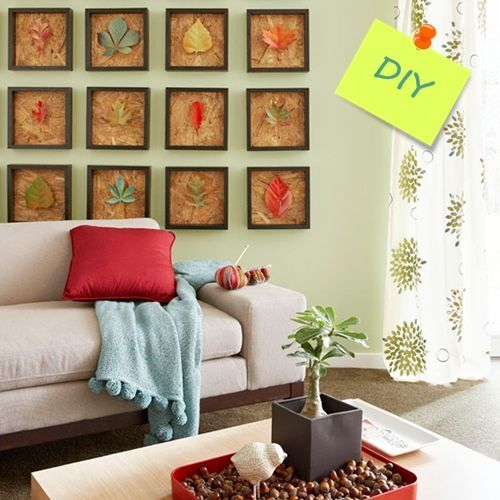 Hacer cuadros decorativos con hojas secas decomanitas - Manualidades cuadros modernos ...
