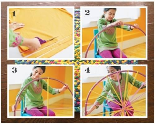 C mo hacer una alfombra de trapillo con un hula hoop decomanitas - Como hacer alfombras de nudos ...