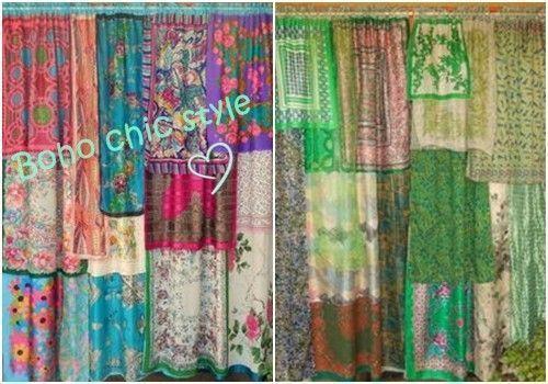 Hacer cortinas originales con pa uelos estilo boho chic for Cortinas de cocina originales