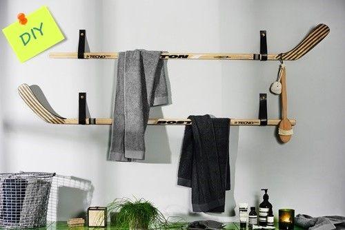Reciclaje creativo colgadores de ropa con palos de hockey - Colgador de camisas ...