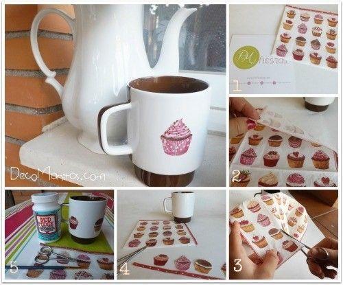 Decoupage con servilletas de papel c mo decorar tazas - Decoupage con servilletas en muebles ...