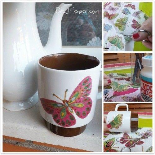 Decoupage con servilletas de papel c mo decorar tazas - Como decorar una taza ...