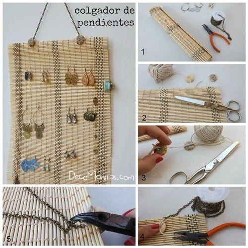 Organizador de pendientes diy reciclando un mantel de bamb decomanitas - Colgadores de pendientes ...